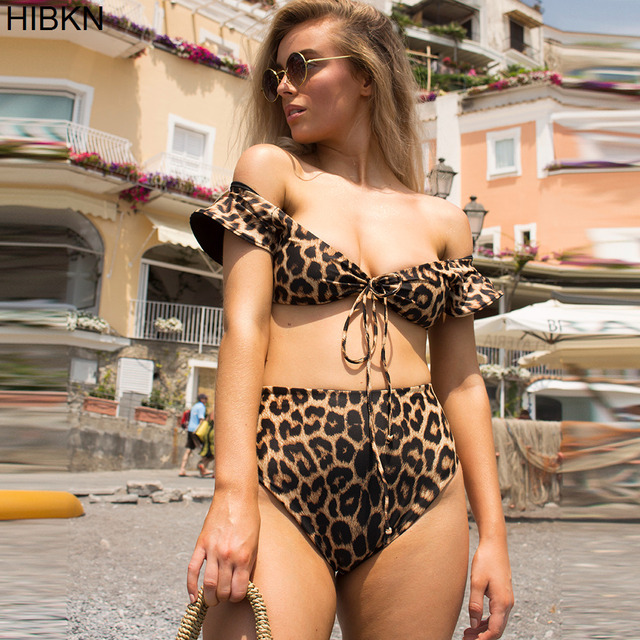 a45ee15aa388 HIBKN swimming bikinis set high waist bikini 2018 women sexy leopard print  bikini set women two piece xl bathing suit female