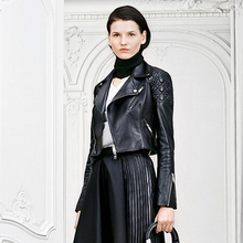 Secret Garden 2015 New Quilted sheep skin motorcycles leather clothes, women's Brand short Genuine Leather jackets Coat, S-XXL