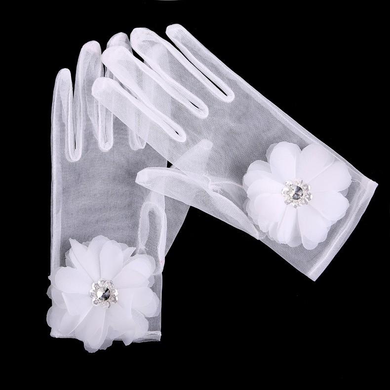 2015 высокое качество бесплатная размеры белый палец невесты прихватки для мангала цветок с кристально перчатки де новия свадебные аксессуары