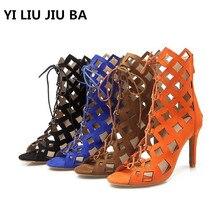 2019 high quality Woman Platform Sandals Summer Open Toe lace up High Heel Zipper Shoes Ladies Comfortable Plus Size 34-43 **503 цены онлайн