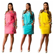 Women Dresses Summer 2017 Floral Half Sleeve Casual Slim Evening Party Dress Plus Size 6XL