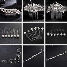 QYY Fashion Crystal Wedding Hair Accessories Hairpins Bridal Jewelry Rhinestone Women Pins Clips Headpieces