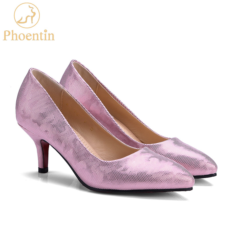 Phoentin rosa stiletto pompe donne 2018 punta a punta slip-on scarpe donna  tacchi sottili superficiale plus size scarpe fatte a mano signore FT346 2d32c98eee8