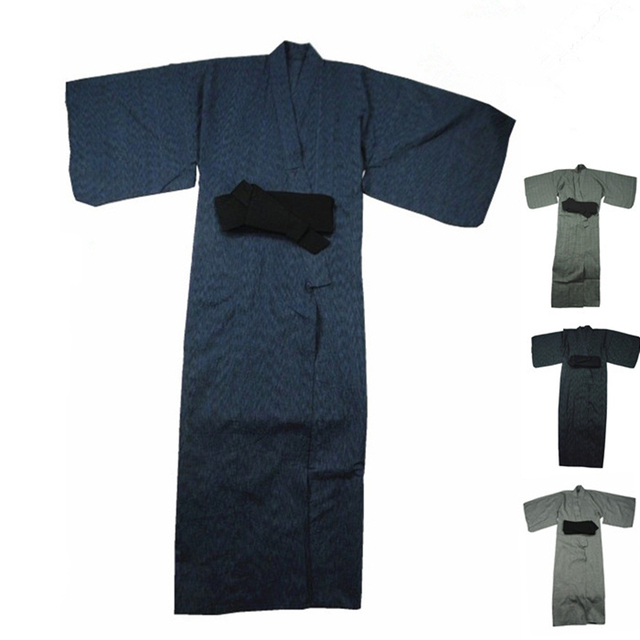 Cool&Limited! Traditional Japanese Male Kimono Men's Robe Yukata 100% Cotton Men's Bath Robe Kimono Sleepwear with Obi Belt