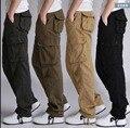 ¡ CALIENTE! 2017 otoño Nueva pantalones multibolsillos pantalones cargo hombres rectos flojos más el tamaño del ejército de piernas anchas pantalones de algodón sueltos