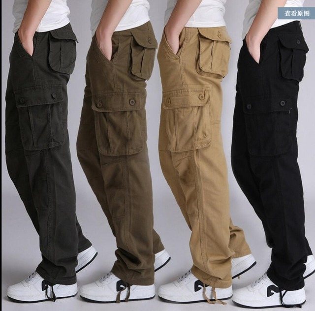 9dbec9bebf0 2019 autumn New trousers cargo pants men loose cotton loose straight plus  size army