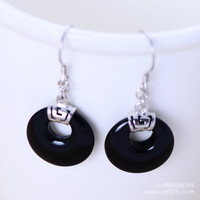 Jimei Silver Silver Wholesale 925 Sterling Silver Jewelry Natural Black Agate Jewelry Earrings Small Disc Female