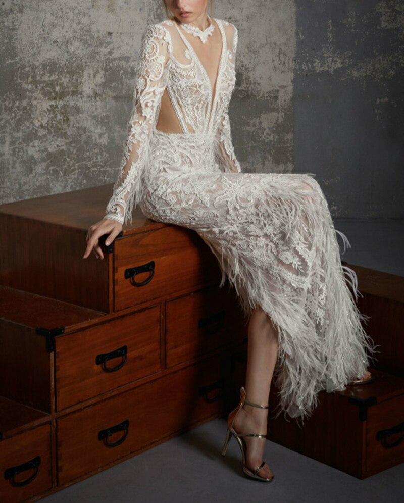 SSYFashion Новый роскошный Кружева Перья Вечернее платье белый одежда с длинным рукавом lllusion Аппликации Sexy Тонкий Русалка вечернее платье для в