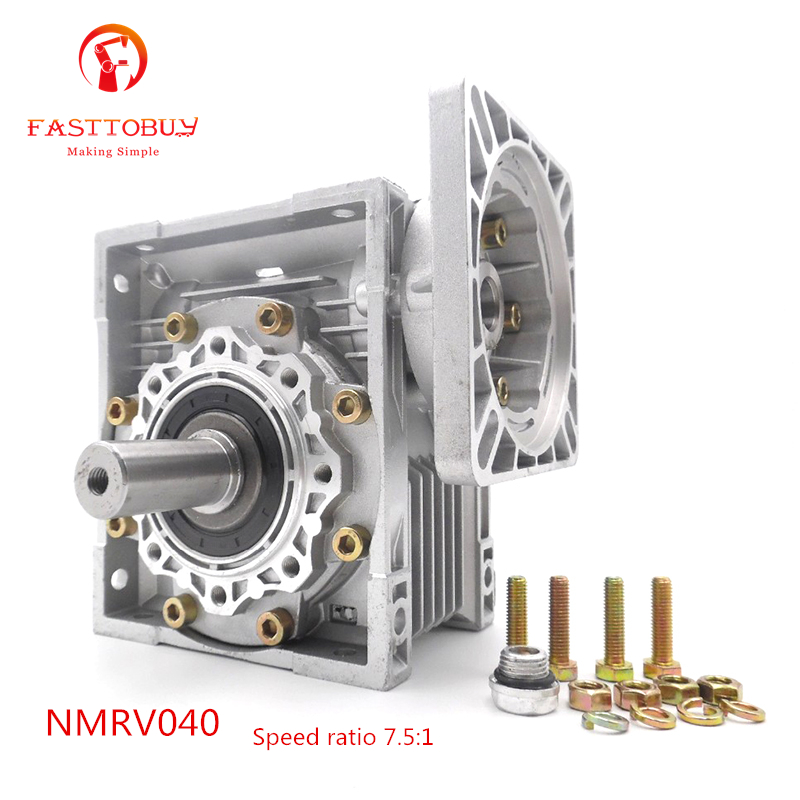 цена на High Quality NMRV040 Worm Gear Reducer NEMA24 Spreed Ratio 7.5:1 Gearbox With Output Shaft for Stepper Motor Brand New