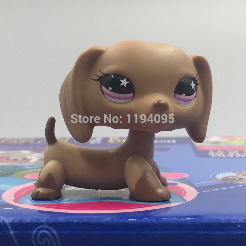 pet shop toys Dachshund Wiener Dog #932 Lovely Teardrop Pink Star Eyes Puppy Collection Figure Gift pet shop toys dachshund 932 bronw sausage dog star pink eyes