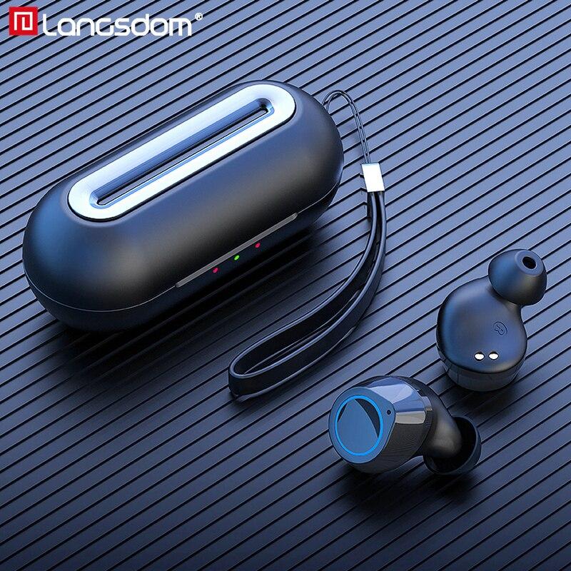 Langsdom T20 TWS 5.0 Bluetooth écouteur sans fil casque pour téléphone Sport vrai sans fil écouteurs stéréo casque avec Microphone