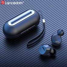 Langsdom t20 tws 5.0 블루투스 이어폰 무선 헤드폰 (전화 스포츠 용) 진정한 무선 이어 버드 스테레오 헤드셋 (마이크 포함)