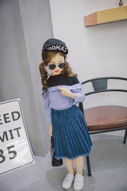 Everweekend Девушки Оборками Юбки Джинсовые Кистями Vintage Милый Ребенок Весна Лето Западная Детская Одежда