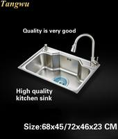 Tangwu Мода Кухня Еда класс 304 воды из нержавеющей стали канавки один слот 68x45/72x46x23 см
