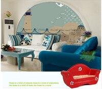 Free shipping custom 3D wallpaper Lighthouse Children Mediterranean sofa bedroom TV backdrop wallpaper