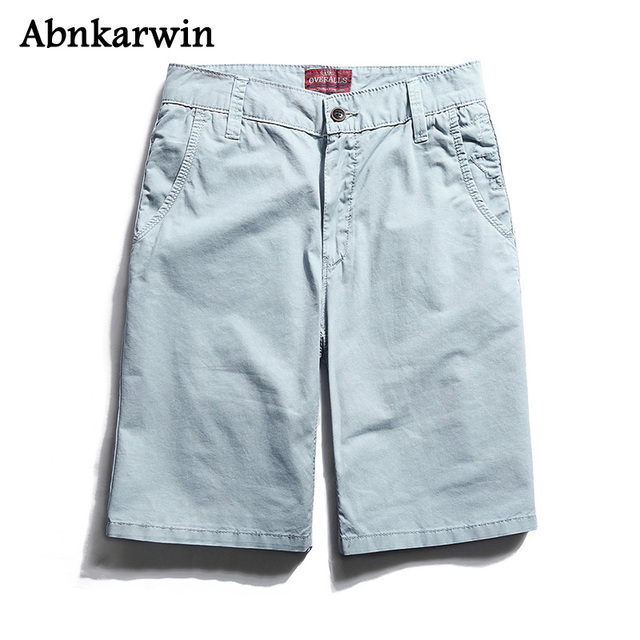 Abnkarwin New Summer Brand Men's Short Trousers 100% Cotton Fashion Men High Quality Solid Shorts Male's Clothing Not Belt