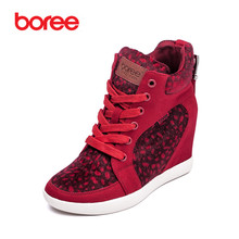 Boree Women 's Fashion Height Increasing Casual Shoes,Breathable Canvas Fabric,Spot Decor Red High-Top,Mujer Zapatos Casuais 490
