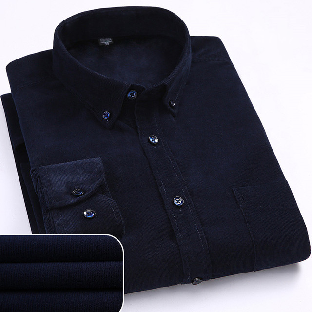 Plus Size 6xl Autumn/winter Warm Quality 100%cotton Corduroy long sleeved button collar smart casual shirts for men comfortable 5