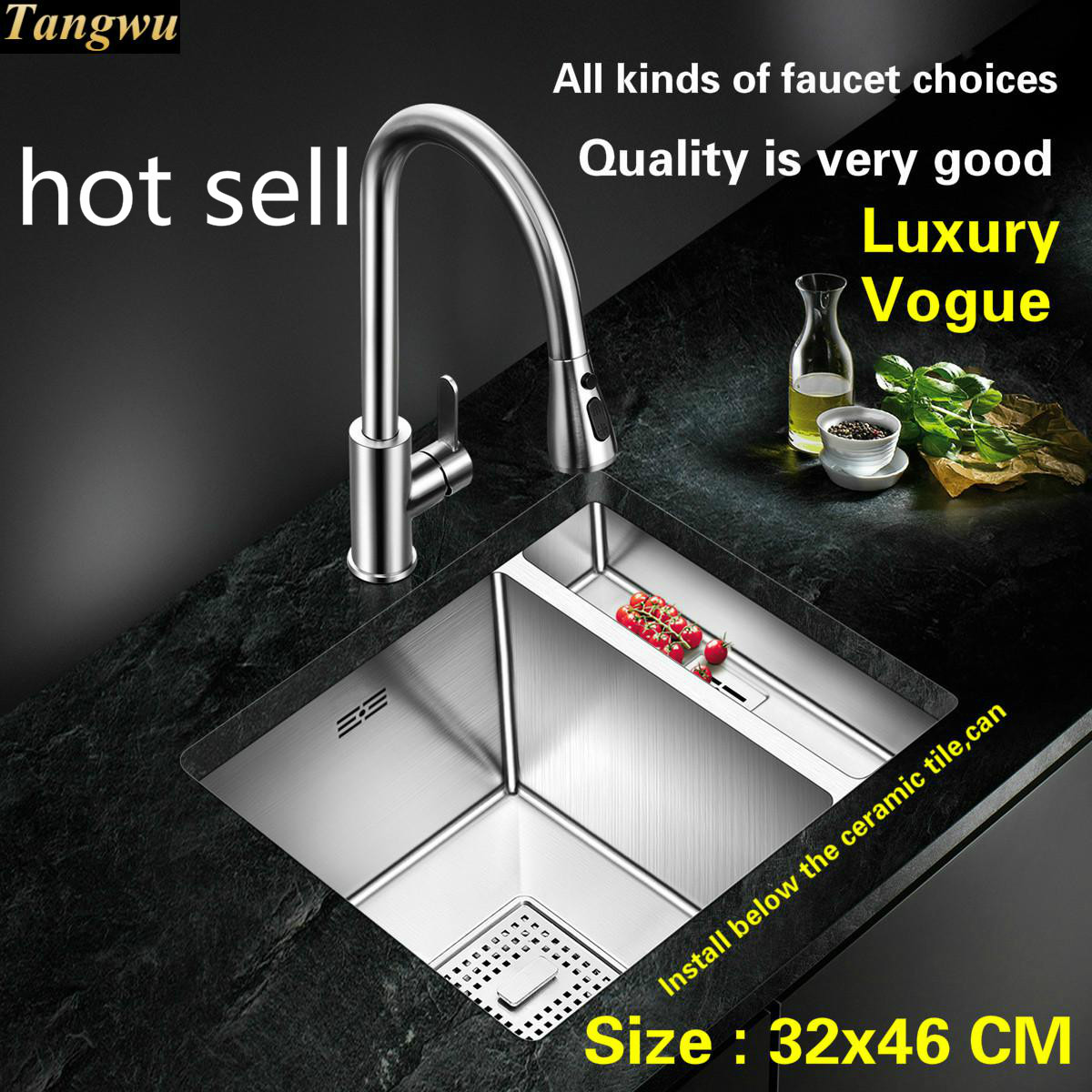 Fashionable Standard Luxurious Mini Balcony Kitchen Manual Sink Single Trough High-grade Food Grade 304 Stainless Steel 32x46 CM