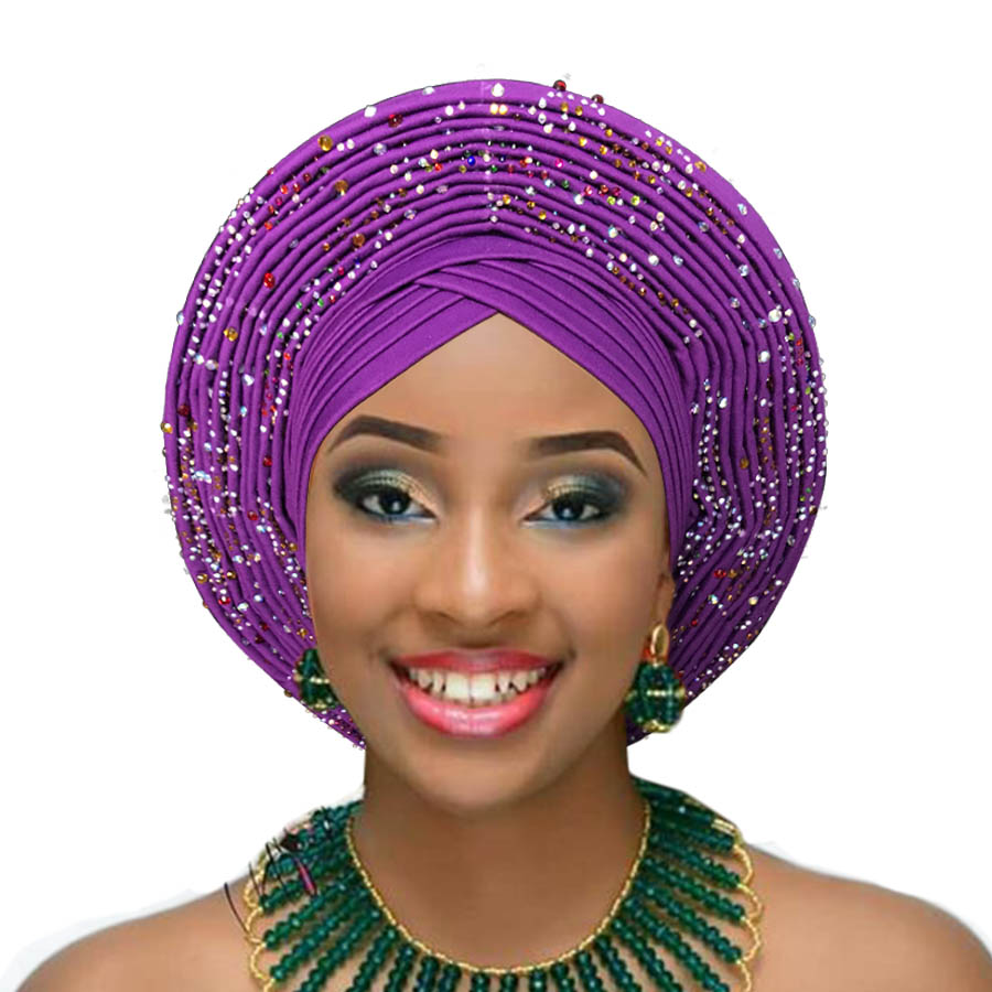 Woman auto gele african headtie wedding headwraps already made turban aso oke gele (5)