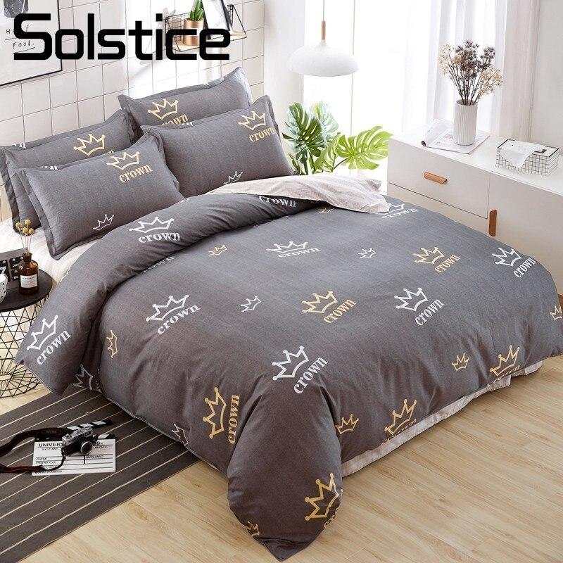 Solstice Home Textile Crown Pattern Duvet Cover Pillowcase Brown Stripe Bed Sheet Boy Kid Child Teen Bedding Set 3/4Pcs Bedlinen