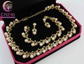 Classic Imitation Gold Plated Clear Crystal Top Elegant Party Gift  simulated pearl Necklace Jewelry Set WBP0011