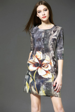 2016 Summer New Women Clothing Silk Printing Short Five sleeves elegant flower printed temperament high end