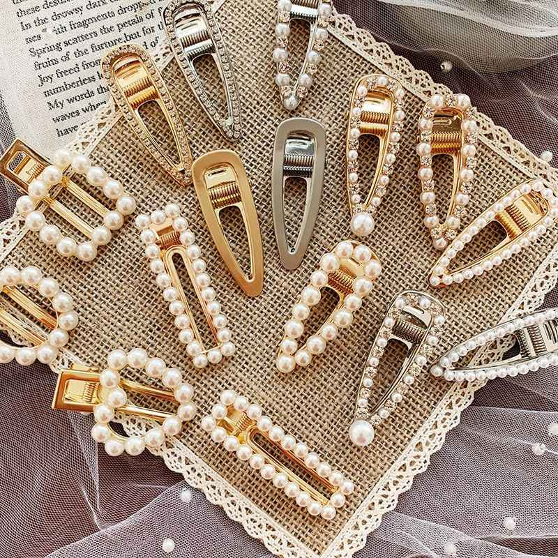 1 PC Pearl Geometric Rectangle Water drop Hairpins Metal Gold Color Hair Clips Crystal Elegant Hair Styling Tools Accessories