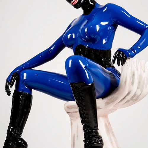 New Latex 100% Rubber Bodysuit Catsuit Overall Navy Blue Size XXS-XXL