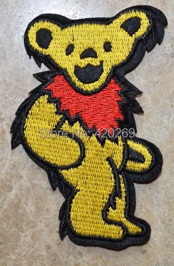 Горячая распродажа!~ Желтый Grateful Dead канавок танцы медведь гладить на патчи, нашивка на одежду, Аппликации, из ткани, качество