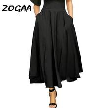 ZOGAA Women Black Pleated Long Skirts High Elastic Waist Maxi Casual Summer Faldas Mujer Harajuku Moda 2018