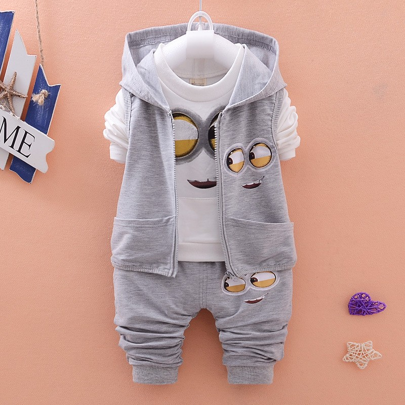2016 Autumn Boys Clothing Sets Kids Coat jacket+T Shirt+Pants 3 Pcs Children Sport Suits Baby Girls Boys Minion Clothes set F552