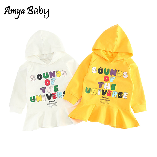 6cef3830695b AmyaBaby Long Sleeve Baby Dress Letter Print Hooded Baby Girl Fall Dresses  Little Girls Clothing Princess Kids Children Dress