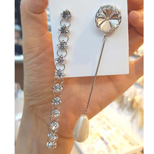 03354db1d054 WKOUD EAM de 2019 nueva moda temperamento de perlas de imitación de  diamantes de imitación de tipo largo pendientes accesorios d.