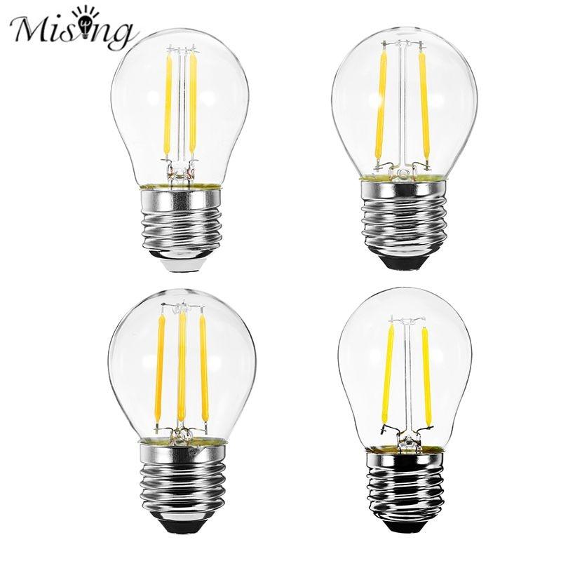 2W 4W LED E27 G45 Filament Edison Light Bulb Yellow Light Energy Saving Home Decoration LED Bulbs