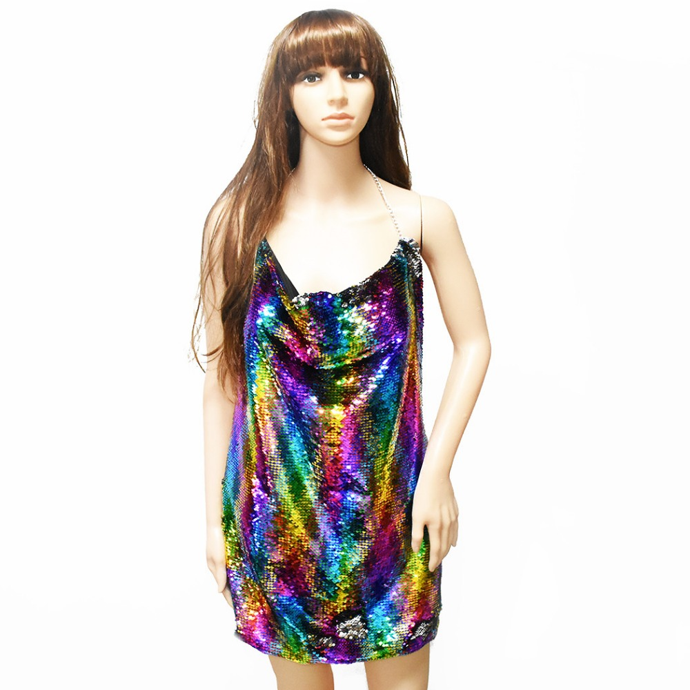 Summer Beach Sexy Body Chains Trendy Sexy Camisole Fish Scale Colorful Sequins Clothes Dress Bar Chains For Women Jewelry Design trendy flat collar sleeveless pocket design buttoned dress for women