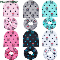 Wholesale 10 set/lot Baby Hat set with Love Cats Baby Girl Hat Cotton Boy Caps for Kids Child Cap Scarf set