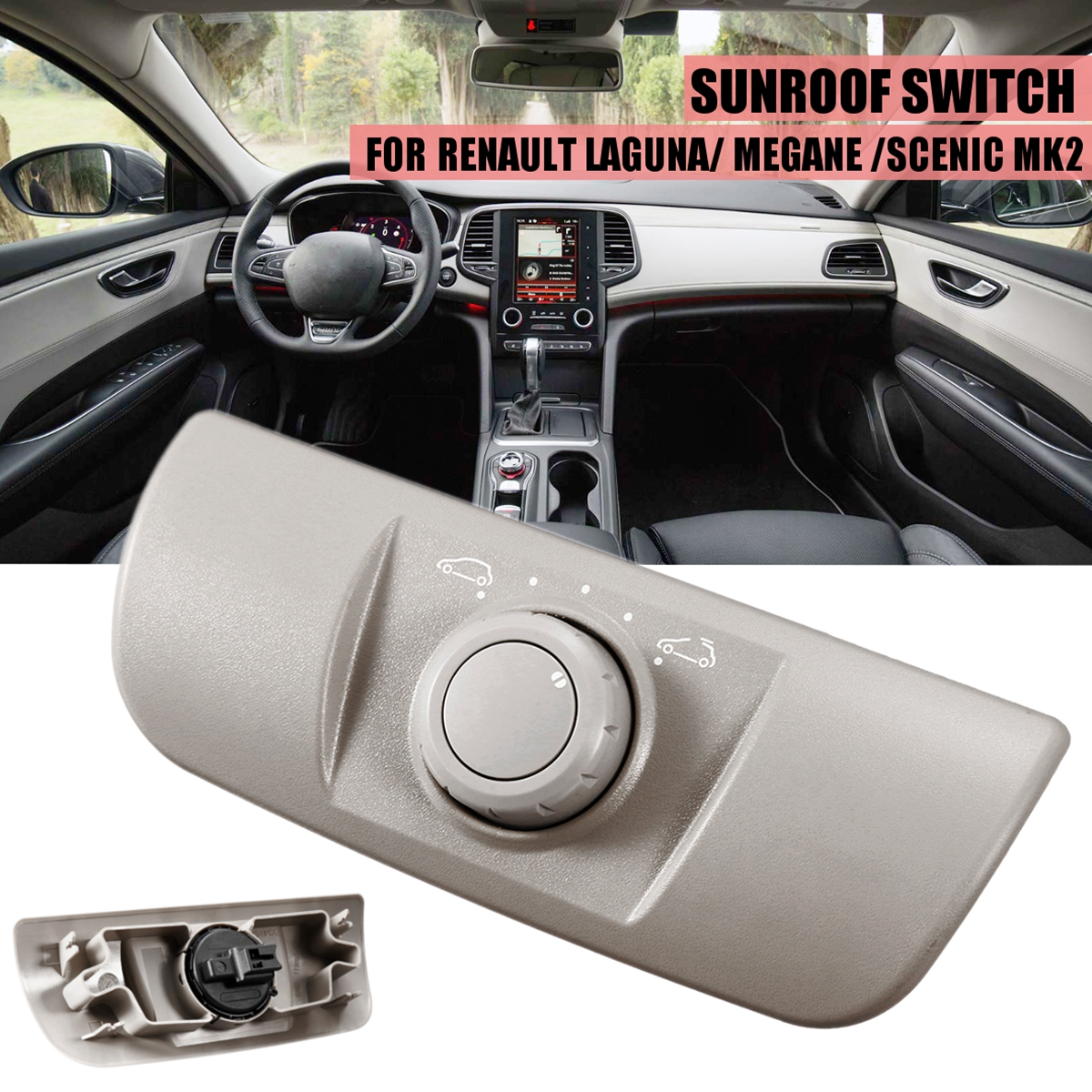 Grey for Renault Megane SCENIC LAGUNA MK2 HB 2002 2015 Sunroof Window Switch Control 8200119893 Auto Replacement Parts Switches