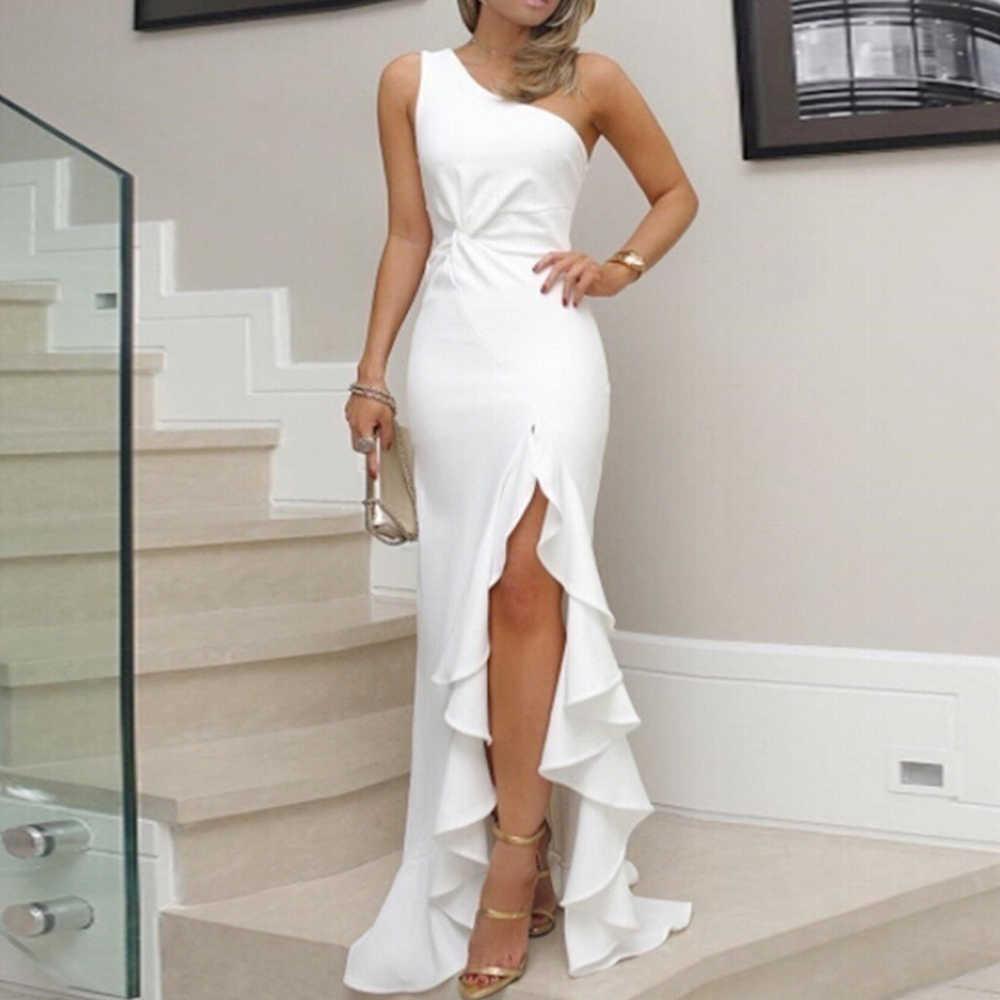Модные завышенной линией талии элегантные темпераментные плиссированные закрытые туфли-вилка воланом поставить вечернее платье, пикантное платье на одно плечо плотно нерегулярные платье длиной до пола