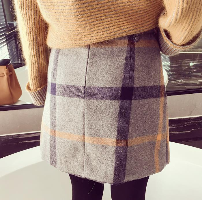 2018 summer skirts retro sen female line wild woolen plaid skirts and long sections large swing sheds kilt
