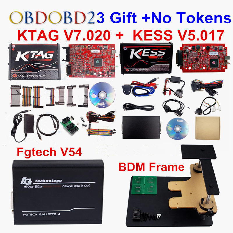 EU Red KESS V2 V5.017 OBD2 Manager Tuning Kit+Online Red KTAG V7.020 K-TAG 7.020+Galletto V54 +BDM Frame ECU Programming Tool new version v2 13 ktag k tag firmware v6 070 ecu programming tool with unlimited token scanner for car diagnosis