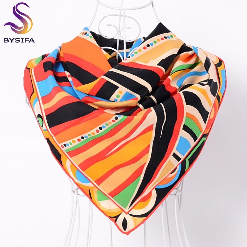 BYSIFA Black Orange Twill Square   Scarf   Shawl 90*90cm Women Fashion Accessories   Scarves     Wraps   Fall Winter Brand Chain   Scarf   Cape