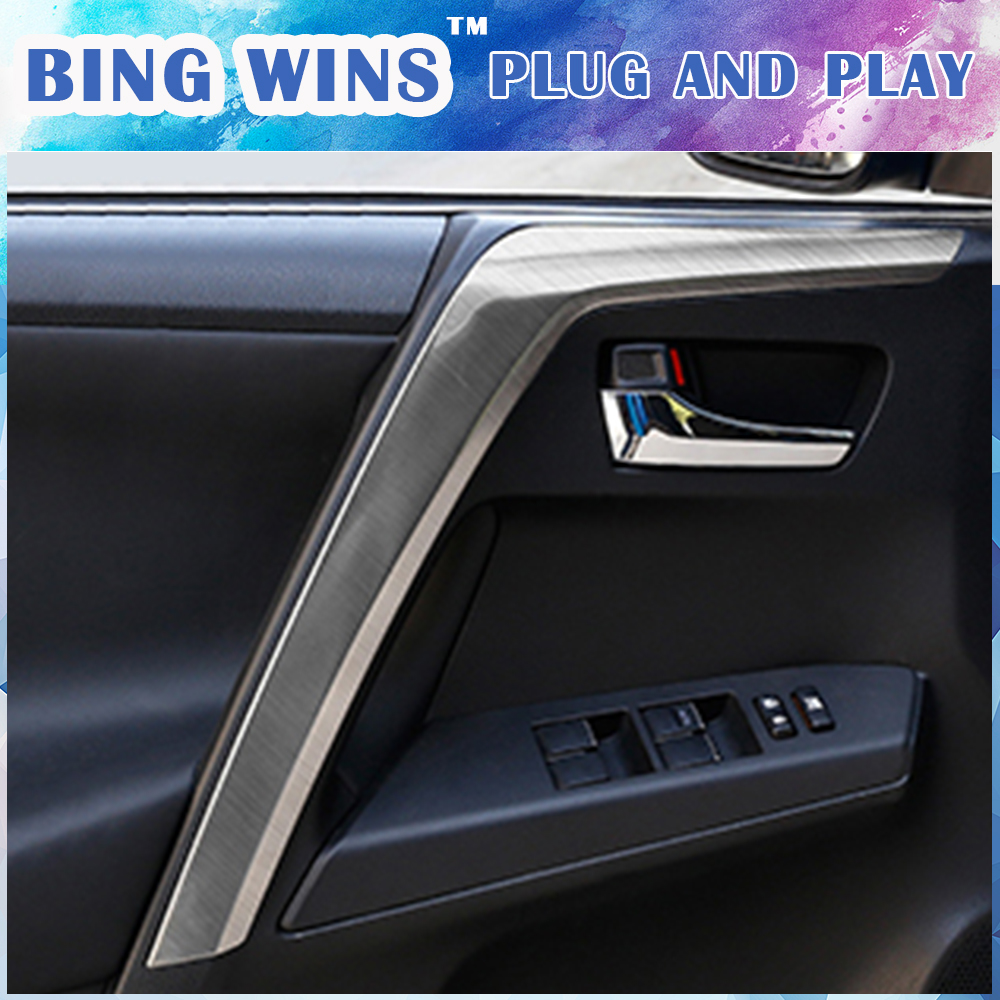 For Toyota RAV4 2014-2018 blue steel console AC switch control frame trim 1pcs