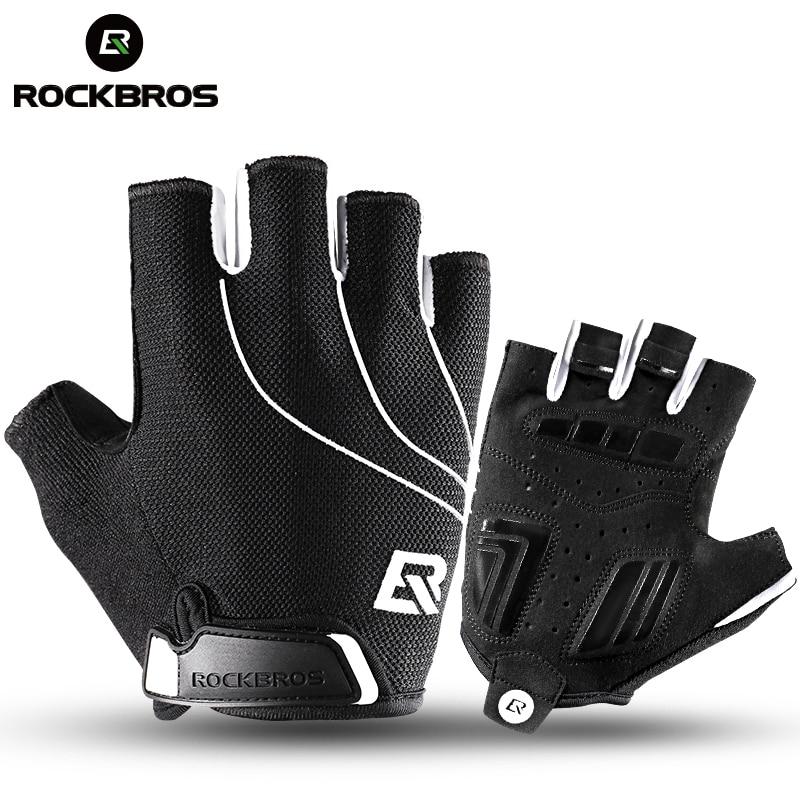 ROCKBROS Running <font><b>Gloves</b></font> Cycling Bike Half Finger Shockproof Breathable MTB Bicycle <font><b>Gloves</b></font> Men Women Sports Gym Accessories