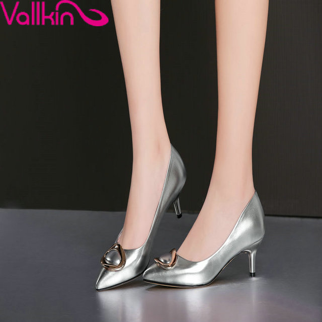 VALLKIN Размер 34-39 Дамы Летняя Обувь Скольжения на Тонких Высоких Каблуках Острым Носом Женщины Насосы Дамы Свадебные обуви Зеленый