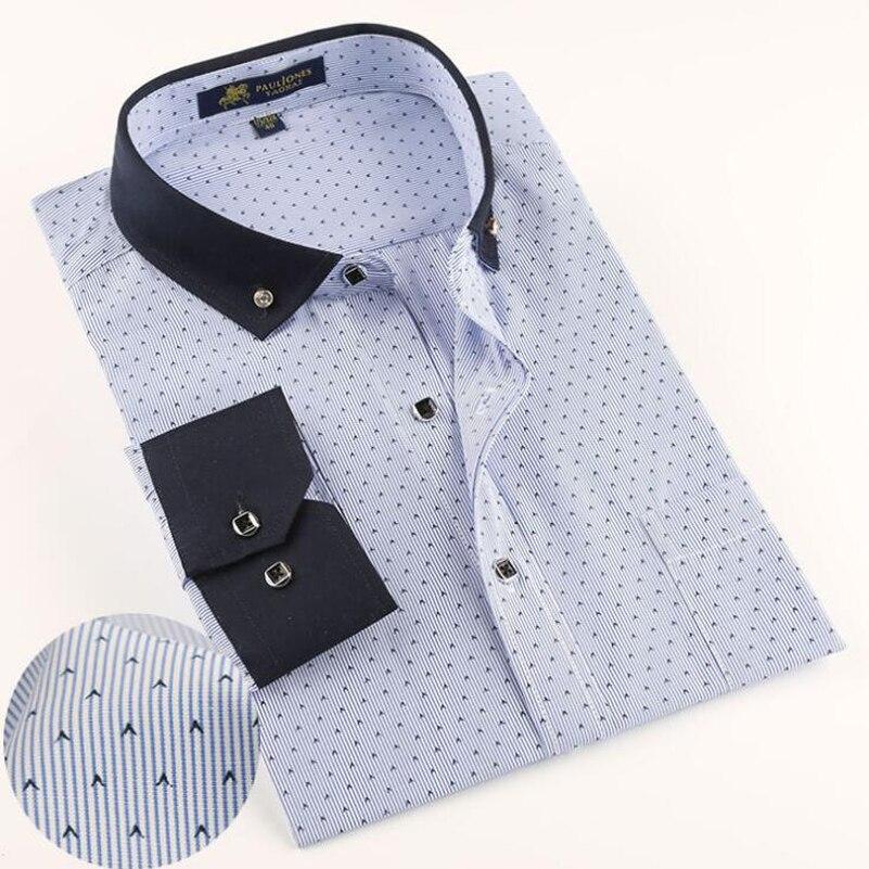 2017 Mode Männer Hemd Neue Marken-männer Shirts Hochzeit Lange Sleeve Floral Männlichen Beiläufigen Geschäfts Kleid Hemd Polka Dot Gedruckt X534 Ausgezeichnet Im Kisseneffekt