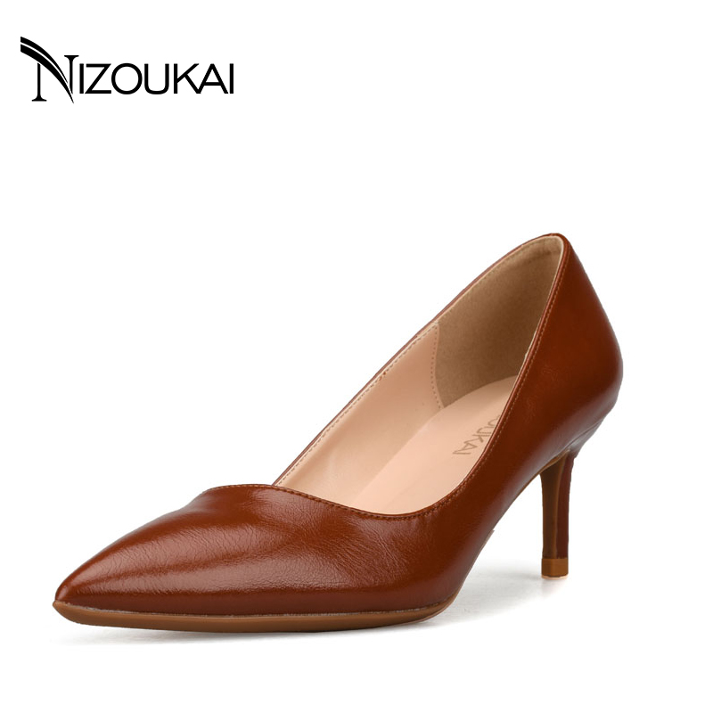 Woman High Heels 6cm Pumps Red Black High Heels Leather Pumps Shoes zapatos mujer tacon Size