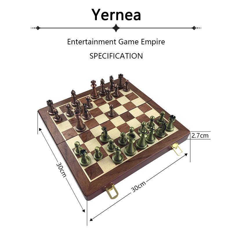 Classic  Zinc Alloy Chess Pieces Wooden Chessboard Chess Game Set With King Height 6.7cm Outdoor Game High Quality Chess Yernea 1