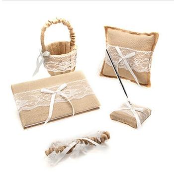 5Pcs/set linen lace wedding supplies Decor  Ring Pillow + Girls Flower Basket +Guest Book Sign Pen Garter Set  bride accessories