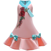 Girls Dress With Sashes 2017 Summer Dress Bow Tie Silk Princess Costumes Flowers Print Robe Fille